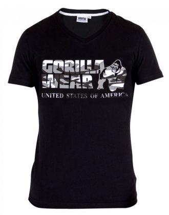 GORILLA WEAR Sacramento V-Neck T-Shirt Black/White