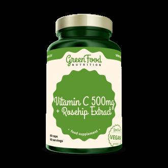 GreenFood Nutrition Vitamín C + Hagebutten extrakt vegan caps