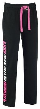 Musclepharm Womens Sweat Pant Black-Hot Pink